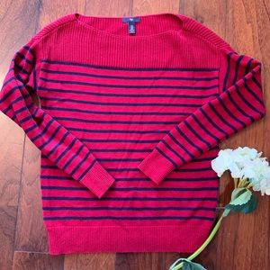 Gap red navy striped boatneck loose fit sweater